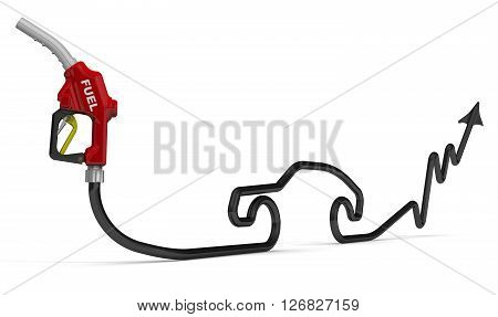 The chart of the growth in gasoline prices. Red car refueling nozzle with hose in the form of a growing chart. Isolated. 3D Illustration