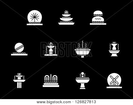 Different styles decorative fountains for exterior, interior, parks and gardens. Small architecture. Collection of white glyph vector icons on black. Elements for web design, business, mobile app.