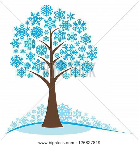 Winter tree with snowflakes. Concept winter tree. Stylized frozen winter tree. Isolated on white background. EPS8 vector illustration.