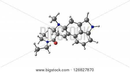 Acetorphine is a potent opioid analgesic up to 8700 times stronger than morphine by weight. 3D illustration.