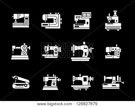 Different sewing machine for industrial manufacturing, fashion atelier, hobby. Old and modern sewing equipment. Set of white glyph vector icons on black. Elements for web design, business, mobile app.