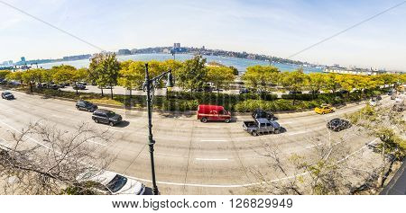 Street View To 12Th Avenue And River Hudson River In The Neighborhood Midtown In New York