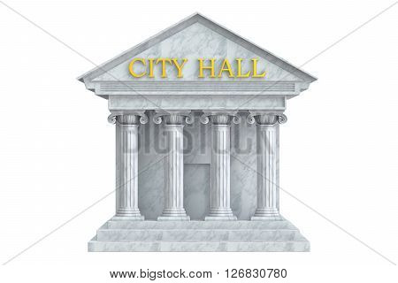 city hall building with columns 3D rendering