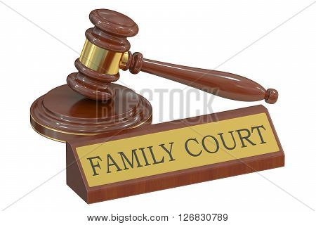 family court concept with gavel. 3D rendering