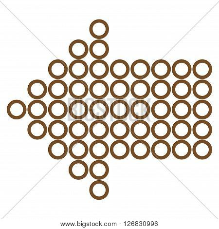 Dotted Arrow Left vector icon. Style is outline icon symbol, brown color, white background.