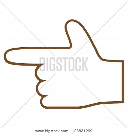 Hand Pointer Left vector icon. Style is stroke icon symbol, brown color, white background.