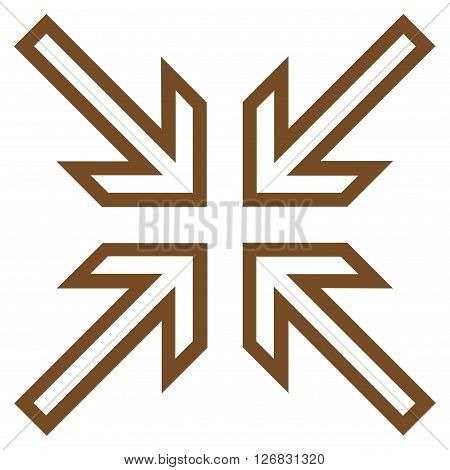 Implode Arrows vector icon. Style is contour icon symbol, brown color, white background.