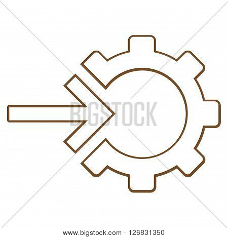 Integration Arrow vector icon. Style is thin line icon symbol, brown color, white background.