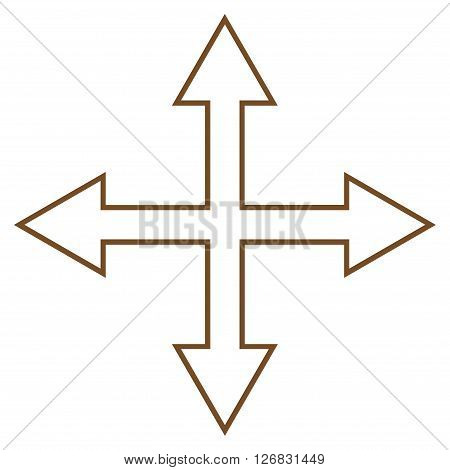 Maximize Arrows vector icon. Style is stroke icon symbol, brown color, white background.