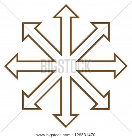Maximize Arrows vector icon. Style is contour icon symbol, brown color, white background.