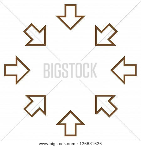Pressure Arrows vector icon. Style is thin line icon symbol, brown color, white background.