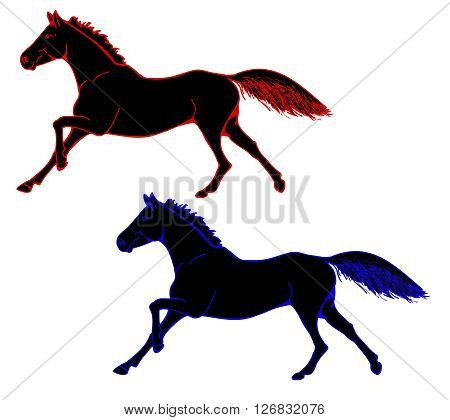 Image of horses in a colored outline. Set of two images - a galloping horse with developing mane and tail . Vector illustration