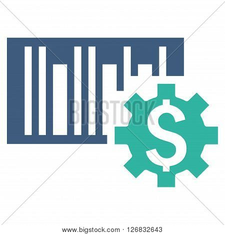 Barcode Price Setup vector icon. Style is bicolor flat symbol, cobalt and cyan colors, white background.