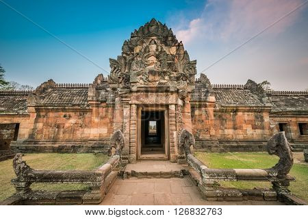 Phanom Rung historical park is Castle Rock old Architecture about a thousand years ago at Buriram ProvinceThailand