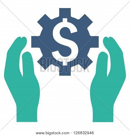 Financial Insurance Options vector icon. Style is bicolor flat symbol, cobalt and cyan colors, white background.