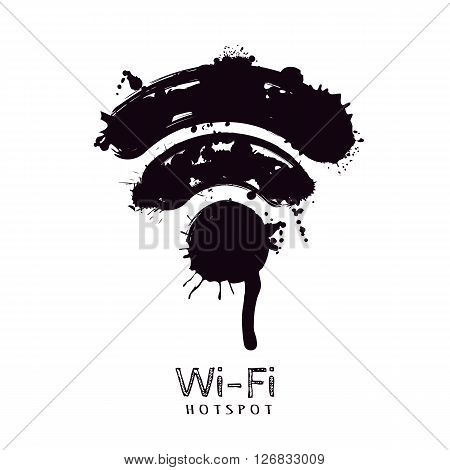 Vector Watercolor Illustration Of Wi-fi Icon.