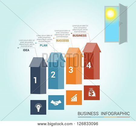 Template Conceptual infographics arrows colored and doorway 4 positions