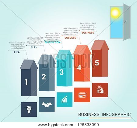 Template Conceptual infographics arrows colored and doorway 5 positions