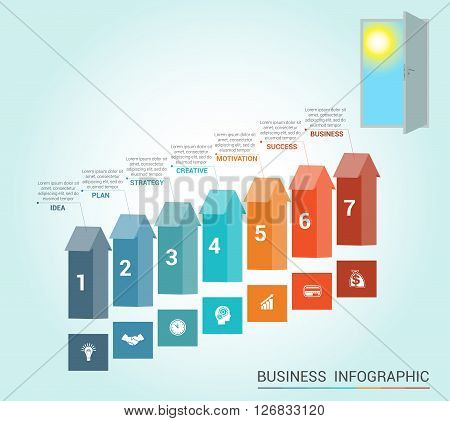 Template Conceptual infographics arrows colored and doorway 7 positions