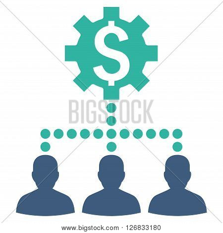 Industrial Bank Clients vector icon. Style is bicolor flat symbol, cobalt and cyan colors, white background.