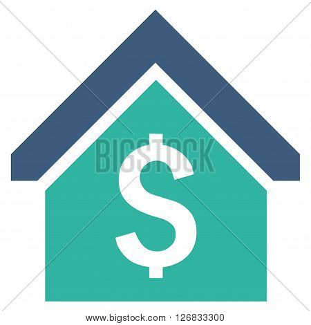 Loan Mortgage vector icon. Style is bicolor flat symbol, cobalt and cyan colors, white background.