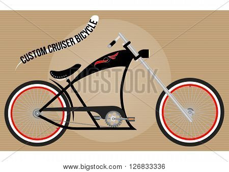 custom chopper cruiser bicycle, color vector illustration