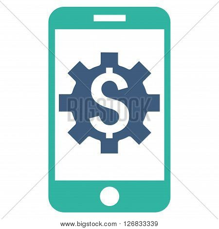 Mobile Bank Setup vector icon. Style is bicolor flat symbol, cobalt and cyan colors, white background.