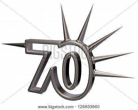 number seventy with prickles on white background - 3d illustration