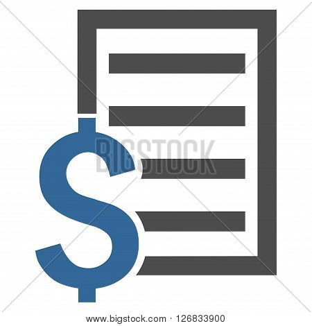 Contract vector icon. Style is bicolor flat symbol, cobalt and gray colors, white background.