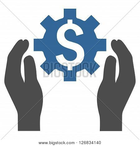 Financial Insurance Options vector icon. Style is bicolor flat symbol, cobalt and gray colors, white background.