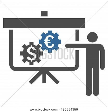 International Banking Project vector icon. Style is bicolor flat symbol, cobalt and gray colors, white background.