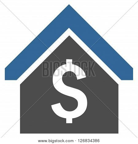Loan Mortgage vector icon. Style is bicolor flat symbol, cobalt and gray colors, white background.