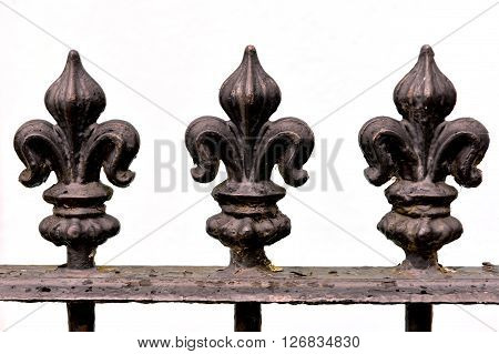 Triple iron fleur de lis railing finials