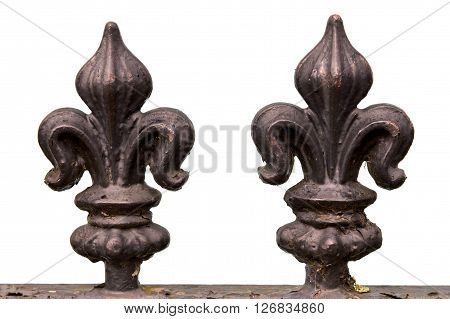 Double iron fleur de lis railing finial
