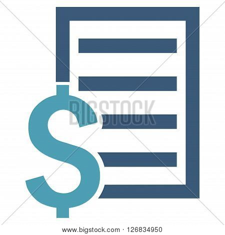 Contract vector icon. Style is bicolor flat symbol, cyan and blue colors, white background.