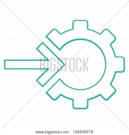 Integration Arrow vector icon. Style is contour icon symbol, cyan color, white background.