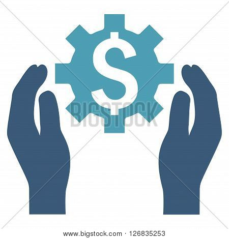 Financial Insurance Options vector icon. Style is bicolor flat symbol, cyan and blue colors, white background.