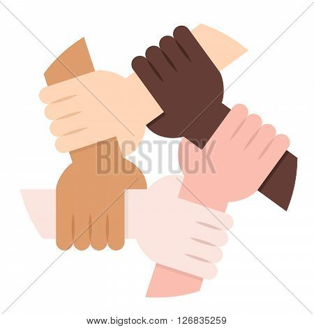 Five Hands Holding Each Other as an Interracial Solidarity