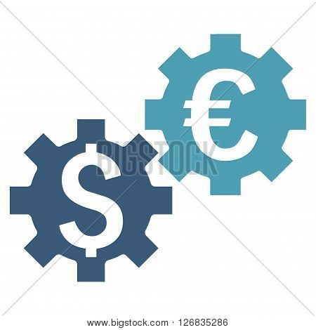 Financial Mechanics vector icon. Style is bicolor flat symbol, cyan and blue colors, white background.