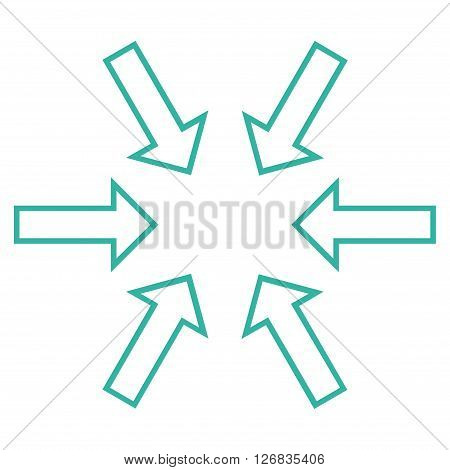 Pressure Arrows vector icon. Style is stroke icon symbol, cyan color, white background.
