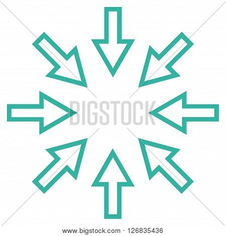 Pressure Arrows vector icon. Style is outline icon symbol, cyan color, white background.