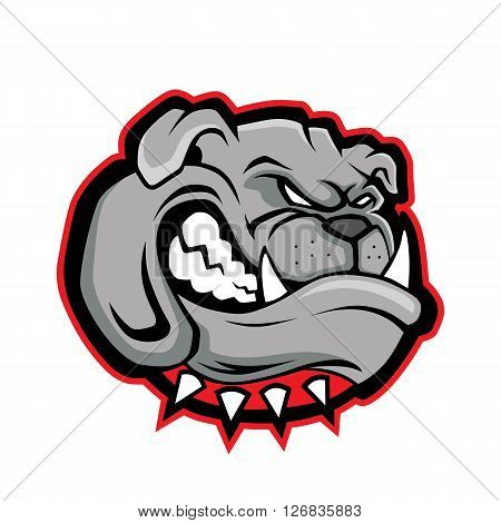 Clipart picture of a bulldog head cartoon mascot character