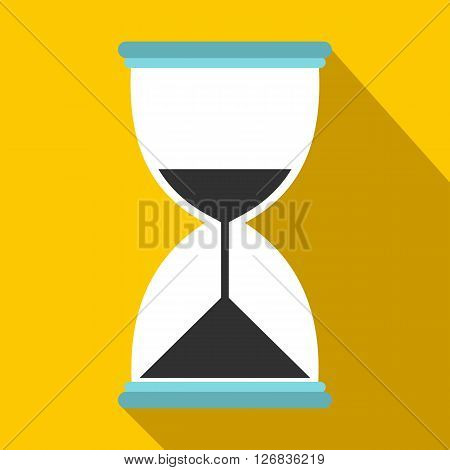 Hourglass icon in flat style on a yellow background