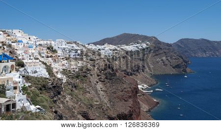 Village Oia, Santorini,  Cyclades islands, Greec, Europe.