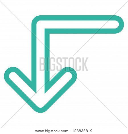 Turn Down vector icon. Style is stroke icon symbol, cyan color, white background.