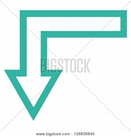 Turn Down vector icon. Style is thin line icon symbol, cyan color, white background.