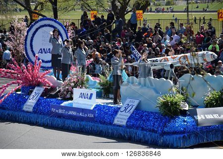 WASHINGTON, DC - APR 16: ANA Airline float at the 2016 National Cherry Blossom Parade in Washington DC, as seen on April 16, 2016. Thousands of visitors gathered to attend this annual event.