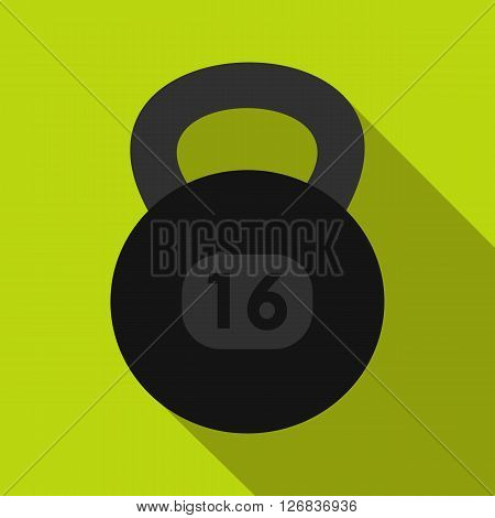Kettlebell icon in flat style on a green background