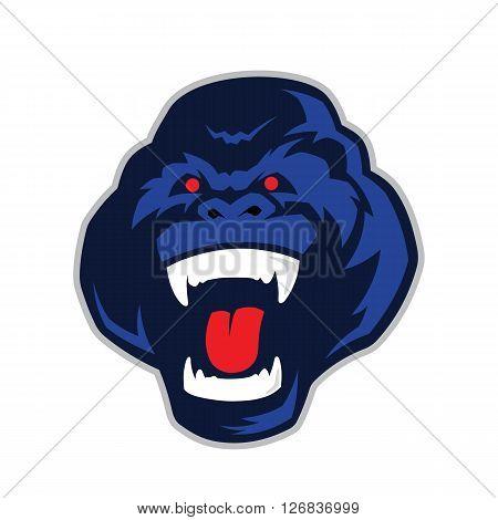 Clipart picture of a gorilla head cartoon mascot character