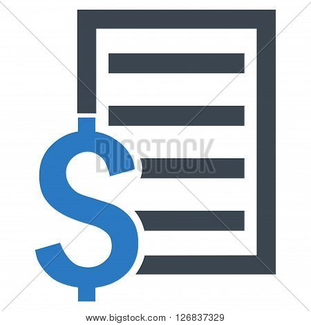 Contract vector icon. Style is bicolor flat symbol, smooth blue colors, white background.